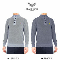 Brave Soul Mens Jumper Button Funnel Neck Sweater
