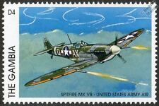 SPITFIRE Mk.VB USAAF United Stated Army Air Force Aircraft Stamp (1996 Gambia)