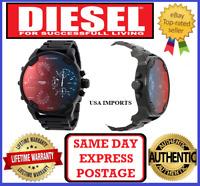 DIESEL DZ7395 MR DADDY 2.0 BLACK/ RED IRRIDESCENT 4 Time Zone Chrono Mens Watch