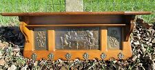 Antique Hand Carved Oak Coat Hat Rack Wood Brass Panels Gorgeous