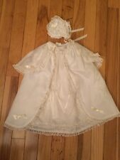 "Vintage Infant Baby Christening Batiste Gown Slip & Bonnet ~ 24"" Long"