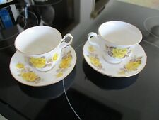 2 sets  4pcs QUEEN ANNE Bone China TEA CUPS and SAUCERS Yellow Rose PATTERN 8616