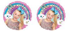 "SET OF 2  JoJo Siwa 17"" Balloons Dream Big Girl Party FREE SHIPPING Rainbows"