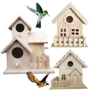 LT_ Wooden Bird Breeding House Cage Box Home Garden Yard Balcony Pendant Decor