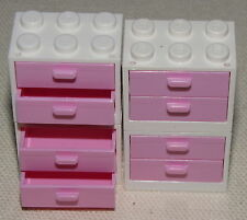 LEGO BATHROOM WHITE CUPBOARDS AND PINK DRAWERS PIECES