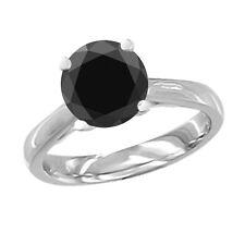 Wedding Ring 0.15 Ct Black AAA Round Diamond Solitaire 14K White Gold