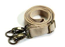byhands Adjustable Webbing Shoulder Cross Bag Strap w/ Bronze Style Ring (Beige)