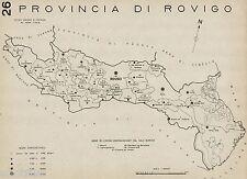 Provincia Rovigo:Tutti i Comuni nel 1938,Carta Topografica.Anno XVI Era Fascista