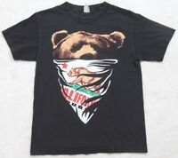 California Republic Bear Bandana Black Short Sleeve Tee Shirt Top Cotton T-Shirt