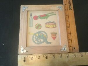 Antique American Folk Art  Painting on Board Glass Framed Child's Toys c.1919