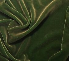 "Hand Painted Silk Velvet Fabric - Antique Gold on Kelly Green 45"" by the yard"