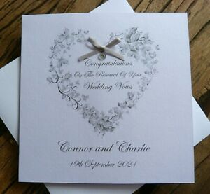 """Handmade Personalised Wedding Vow Renewal Card. Butterfly Heart  6"""" Square"""