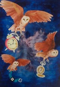 Owls Painting - Print from my Watercolour Painting -A4 21x30 cm free postage