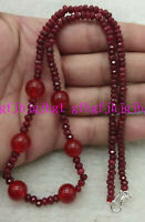 """2x4mm Natural Ruby & 10mm Red Jade Round Beads Necklace Earrings Set 18"""""""