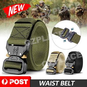 Mens Canvas Outdoor Tactical Belt Heavy Duty Army Waist Web Strap Waistband Hot