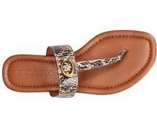 NIB Size 5 Coach Leather Jessie Buckle Thong Sandals Beechwood/ Snake