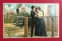 Litho Prägedruck Glückwunsch AK PFINGSTEN 1908 Eisenbahn Dampflok Paar ( 63465