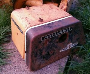 Vtg ALLIS chalmers sno bee snow blower yellow square engine hood cover cowling