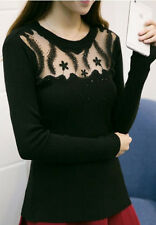 Womens Black Lace Jewel Neck Pullover Sweater Sexy Beads Crystals Sparkle New