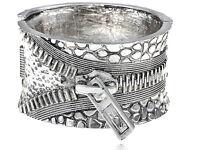 Chunky Silver Zipper Style Buckle Fashion Bracelet Bangle Cuff Gothic Jewelry