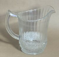Vintage Clear Cut Glass Pitcher Small Syrup Pitcher Depression Glass