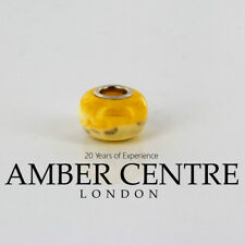 Genuine Amber & 925 Silver Charm For European Charm Bracelets RRP£60!!! CHA7