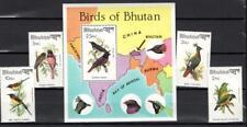 [BHUT] BHUTAN 1982 BIRDS, SINGING BIRDS. SET OF 4 STAMPS + SOUVENIR SHEET.