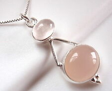 Rose Quartz Double Gem Oval 925 Sterling Silver Pendant New Imported from India