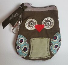 THIRTY ONE RETIRED OWL ICON ZIPPERED COIN PURSE BROWN WITH FLOWERS   A22