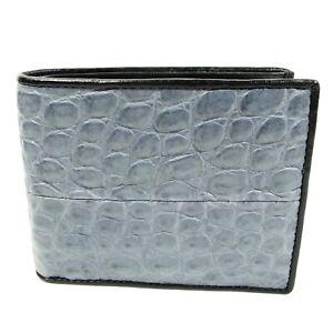 New Real Grey Alligator Crocodile Leather skin Mens Bi-fold Crafted Wallet