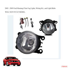 New 2005-2009 Ford Mustang Clear Fog Lights Lamps Wiring Kit & Light Bulbs