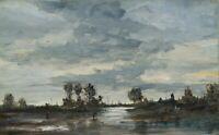 RONDINI (19. Jhd.), Niederländische Flusslandschaft, um 1900, Öl auf Holz