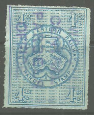 4D NORTH EASTERN RAILWAY PARCEL STAMP NEWCASTLE CENTRAL PARCELS OFFICE IN VIOLET