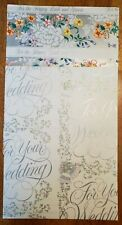 """2 Retro Silver And Floral """"For Your Wedding"""" Wrapping Paper Sheets Loose Vintage"""