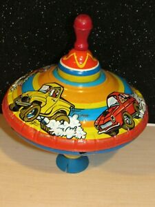 Vintage Ohio Art spinning top , rare, Racing cars & Trucks, LARGE 11in RETRO TOP