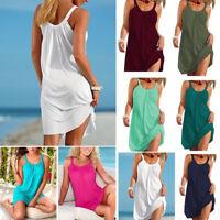 US Women Holiday Beach Bikini Cover Up Boho Casual Party Sun Mini Dress Sundress