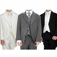 Boys 5pc Tailcoat Morning Suit Wedding Formal Suits 3 Colours Black Cream Grey