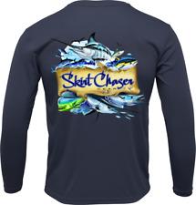 Long Sleeve Navy Pelagic Fish UPF 50+ Microfiber Performance Fishing Shirt
