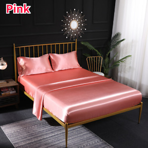Faux Silk Satin Bedding Elastic Fitted Sheet Pillowcases Bed Cover Bedsheet