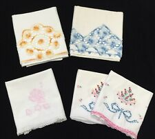 5 Vtg Standard Pillowcases with Embroidery & Hand-Crochet Trim; Cotton (Rf371)