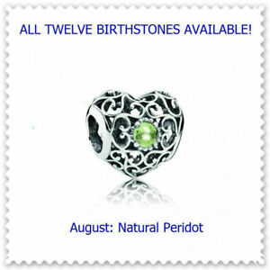 New Authentic Pandora SIGNATURE HEART Birthstone Charms August