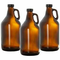 Glass Growlers for Beer, 3 Pack - 64 oz Growler Set with Lids - Great for Home