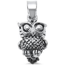 Plain Solid 3D Moving Owl Charm .925 Sterling Silver Pendant