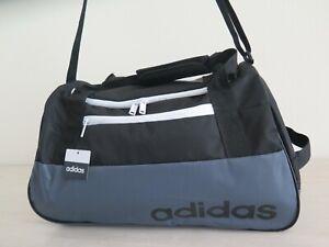 Adidas 140966C Grey and Black Core Squad Black Duffel Gym Sports Bag