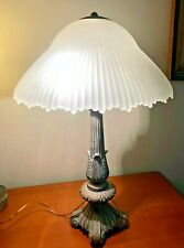 Art Nouveau Style Table Lamp  with Frosted Glass Cone Shade