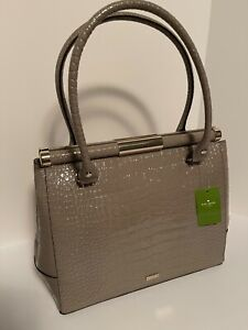 Kate Spade Knightsbridge Constance Leather Croc Soft Taupe $698 NWT