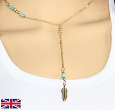 Women's Gold Feather Necklace With Beads - UK Seller Free P&P
