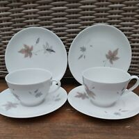 Pair of Royal Doulton Tumbling Leaves Trio Tea Cup Saucer & Side Plate Sets