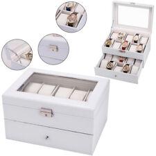 20 Slot Watch Box Leather Display Case Organizer Top Glass Jewelry Storage White
