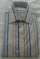 Men's Turnbull & Asser Work/Casual Shirt - Multi Yellow & Blue Stripe-15.5'' NEW
